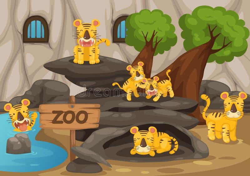 Zoo och tiger stock illustrationer