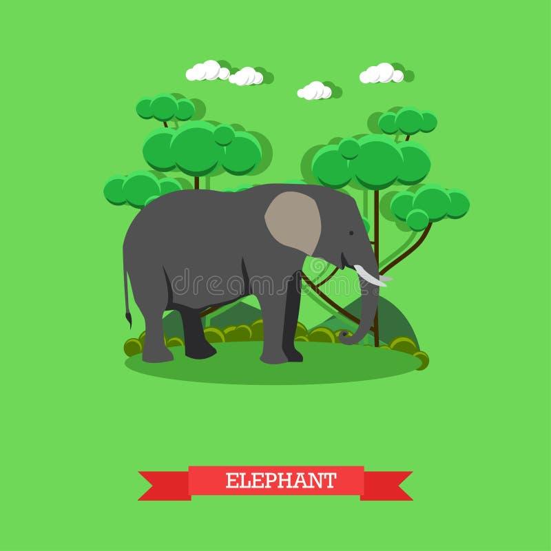 Zoo pojęcia sztandar Przyroda słonia zwierzę Wektorowa ilustracja w mieszkanie stylu projekcie ilustracja wektor
