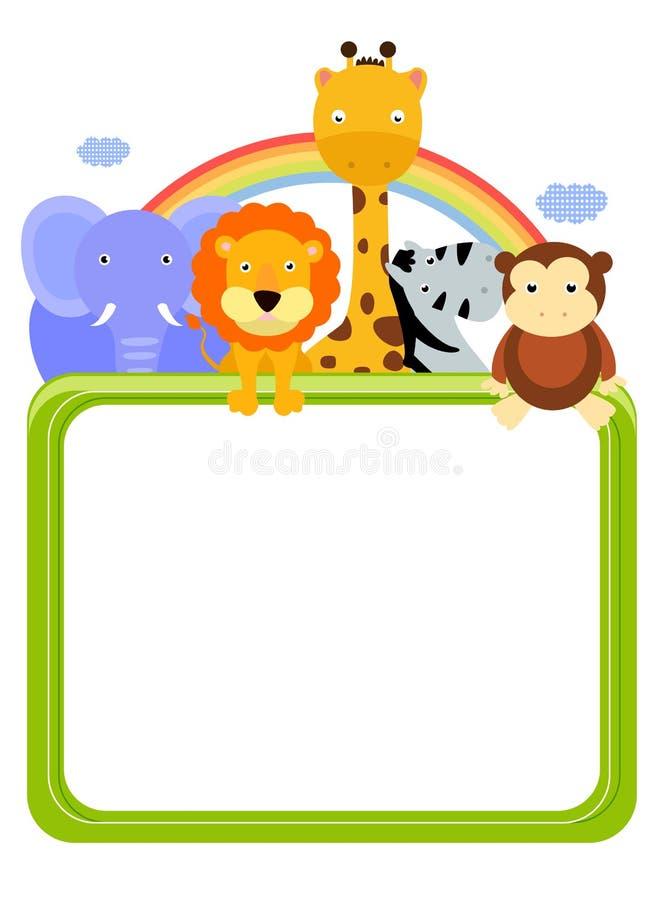 Zoo rama i zwierzęta ilustracja wektor