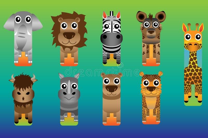 Zoo Safari Animal Bookmark Style arkivbild