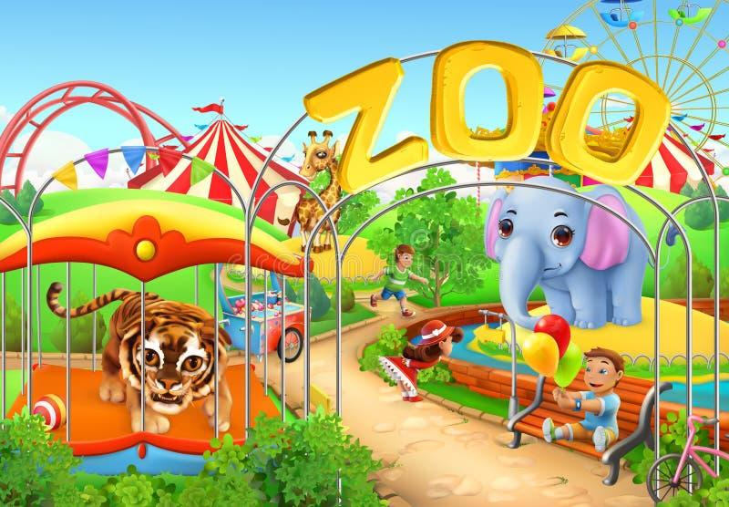 zoo scherza il campo da giuoco Parco di divertimenti Illustrazione di vettore illustrazione vettoriale