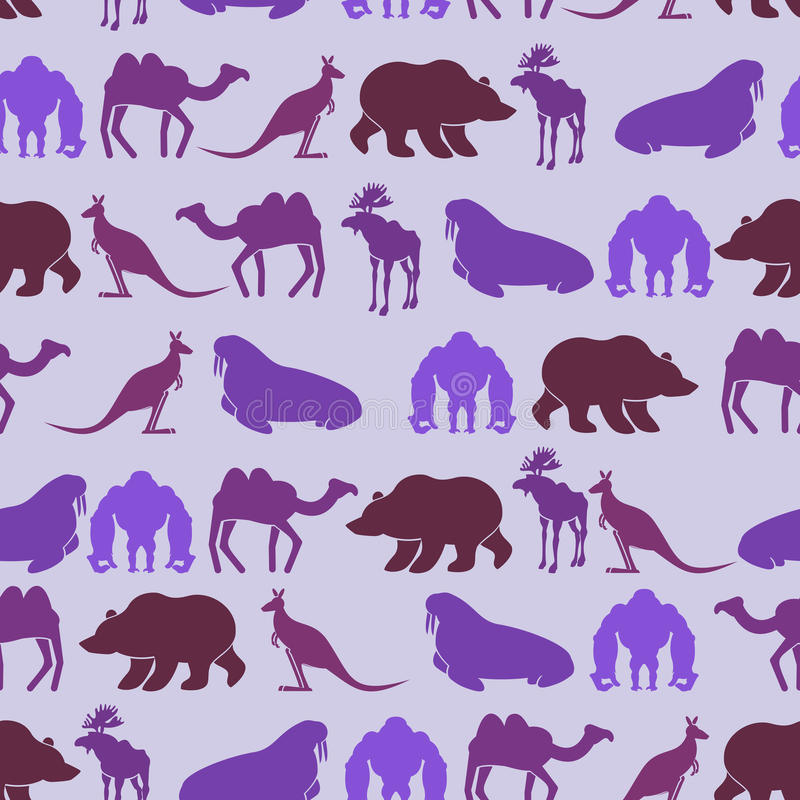 Zoo seamless Patten. Color background of wild beasts. Texture of animals: bear and camel vector illustration