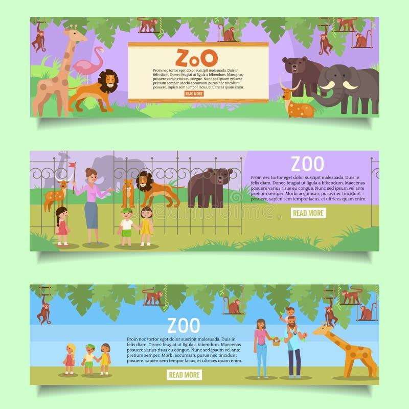 Zoo sieci sztandaru szablonu set, wektorowa płaska ilustracja ilustracji