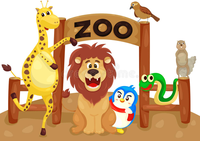 Zoo sign with animals royalty free illustration