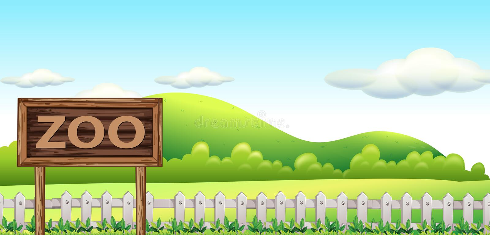 A zoo sign in nature. Illustration royalty free illustration