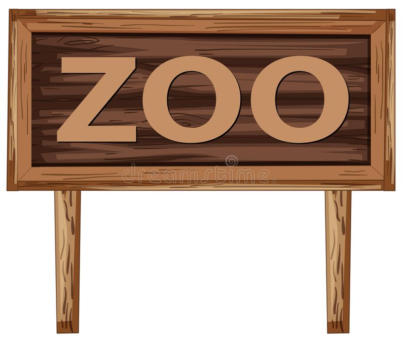A zoo signboard on white background. Illustration vector illustration