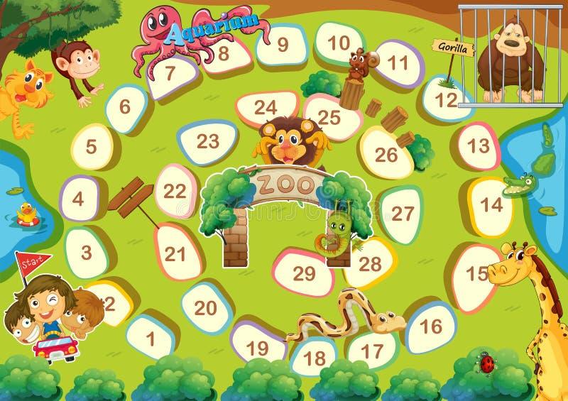 Zoo theme boardgame stock illustration