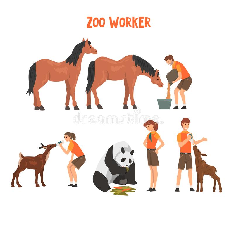 Zoo Workers Feeding and Caring of Animals, Professional Zookeepers Characters Vector Illustration stock illustration