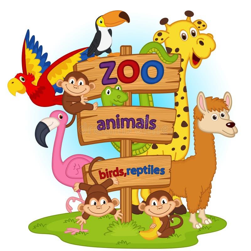 Zoo zwierzęta blisko drewnianego znaka royalty ilustracja
