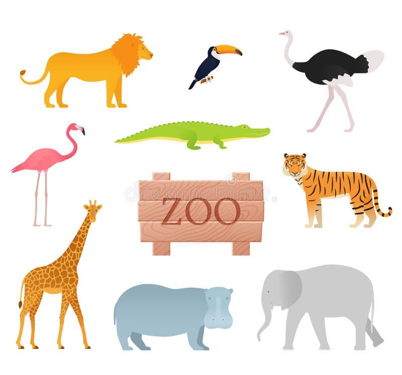 Zoo zwierzęta wektor Zwierzęca ikona ustawiająca z drewnianą deską royalty ilustracja