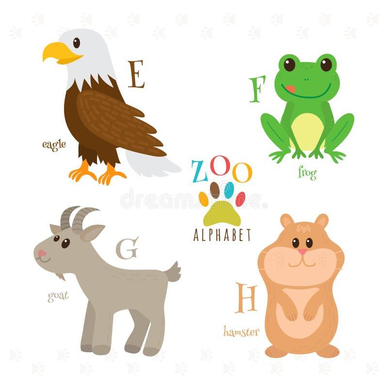 Zooalfabet med roliga tecknad filmdjur E f, G, H-bokstäver Eag vektor illustrationer