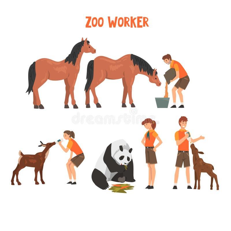 Zooarbetare som matar och att bry sig av djur, yrkesmässig illustration för Zookeepersteckenvektor stock illustrationer