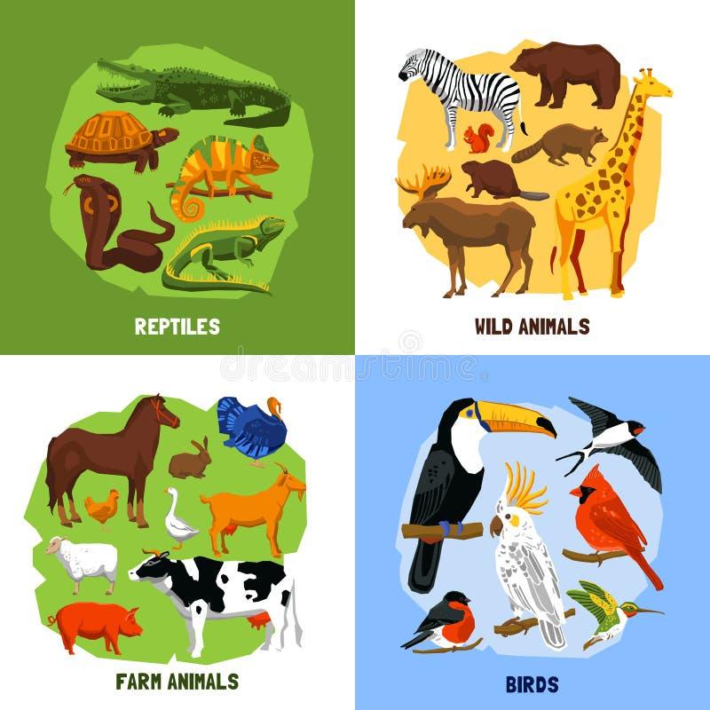 Zoobilder för tecknad film 2x2 vektor illustrationer
