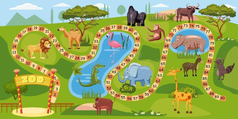 Zoobrädelek med nummer för barn, lejon, elefant, flamingo, buffel, flodhäst, krokodil, gorilla, kamel stock illustrationer