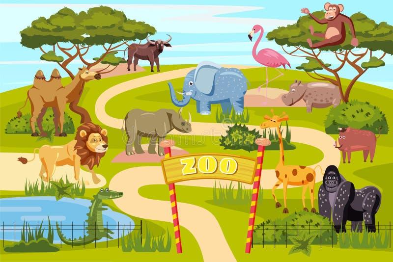 Zooingången utfärda utegångsförbud för tecknad filmaffischen med djur och besökare för safari för elefantgirafflejon på territori royaltyfri illustrationer