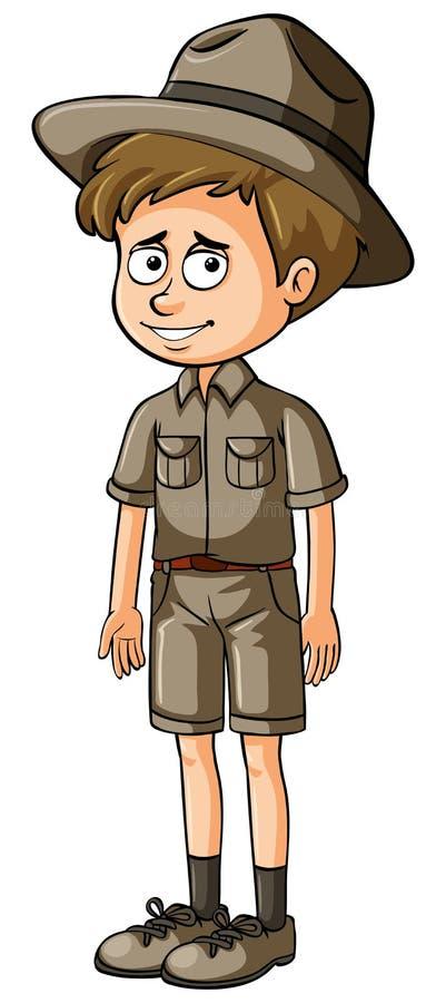 Zookeeper no uniforme marrom ilustração royalty free