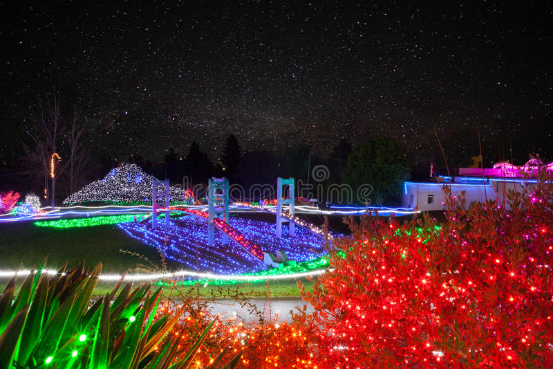 Zoolights am Punkt-Trotz-Zoo in Tacoma, WA lizenzfreie stockfotografie