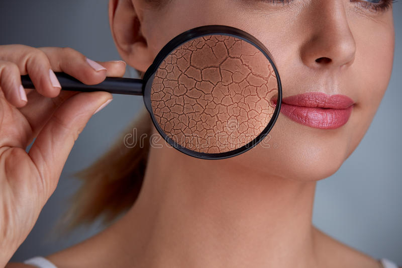 Zoom damage on skin stock photography