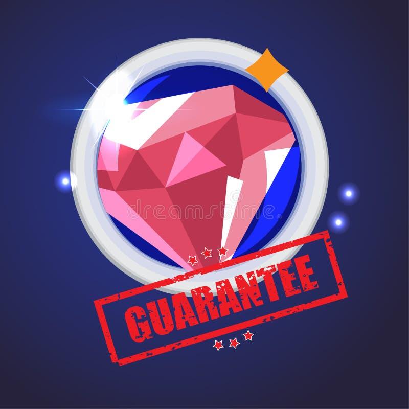 Zoom des Diamanten mit Garantiestempel - Vektor vektor abbildung