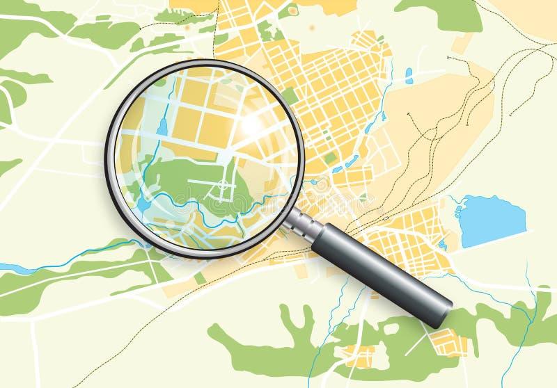 zoom för översikt för stadsgeolins vektor illustrationer
