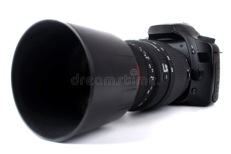 zoom för kameradslrlins royaltyfri bild