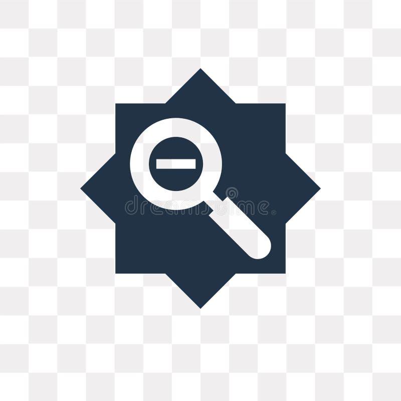 Zoom heraus vector die Ikone, die auf transparentem Hintergrund, Zoom ou lokalisiert wird stock abbildung