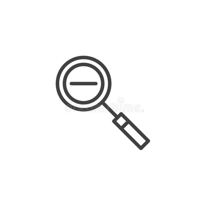 Zoom heraus zeichnen Ikone lizenzfreie abbildung