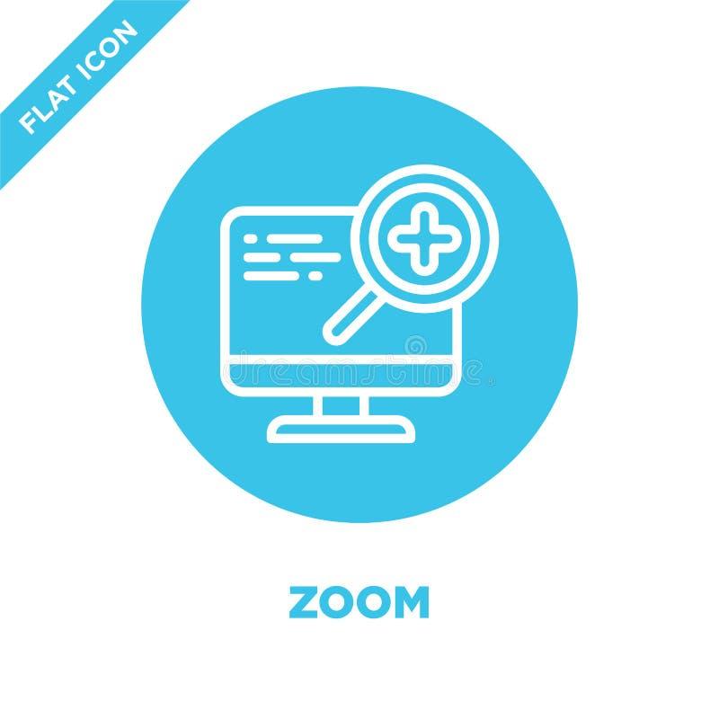 zoom ikony wektor od dostępności kolekcji Cienka kreskowa zoomu konturu ikony wektoru ilustracja Liniowy symbol dla używa na siec royalty ilustracja