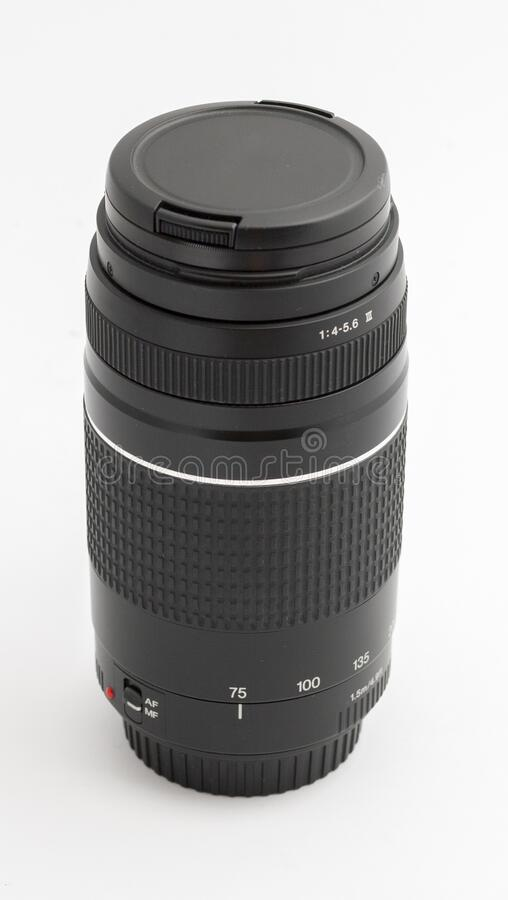 Zoom lens isolated on white background.  royalty free stock photo