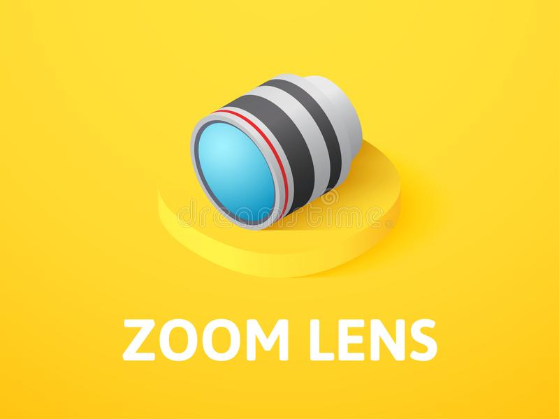 Zoom lens isometric icon, isolated on color background. Zoom lens icon, vector symbol in flat isometric style isolated on color background royalty free illustration