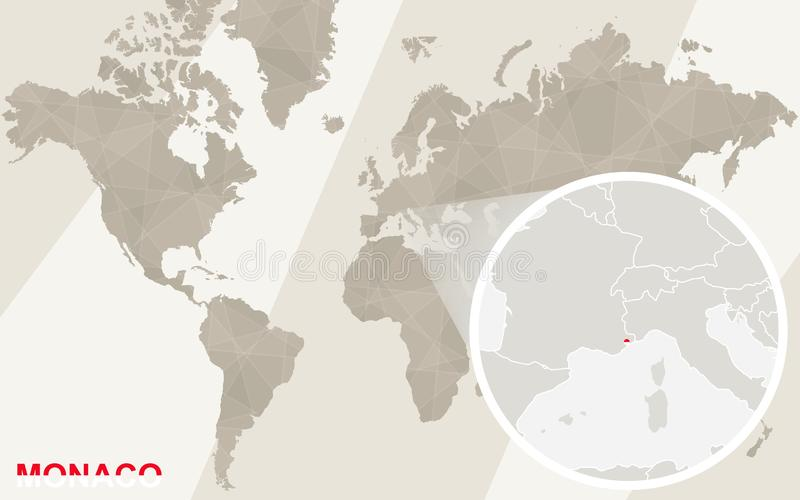 Zoom on Monaco Map and Flag. World Map royalty free illustration