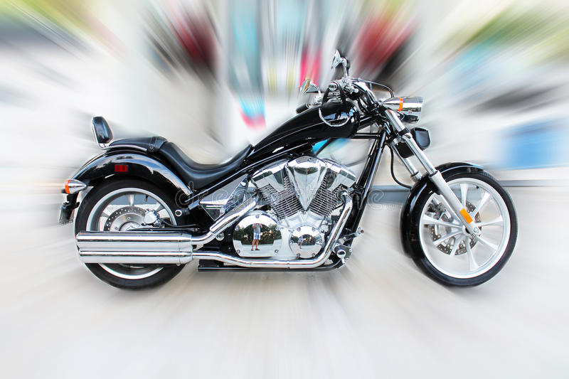Zoom in motorcycle side view. Zoom in Vlack motorcycle side view royalty free stock photography