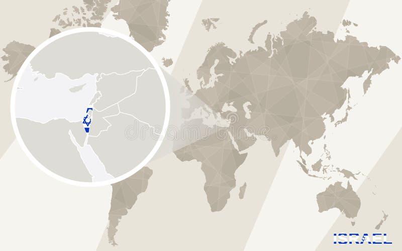 Zoom na Izrael fladze i mapie mapa ilustracyjny stary świat ilustracja wektor