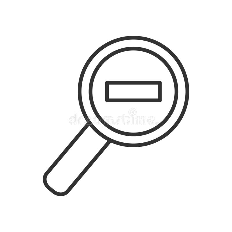 Zoom Out Magnifying Glass Outline Flat Icon royalty free illustration