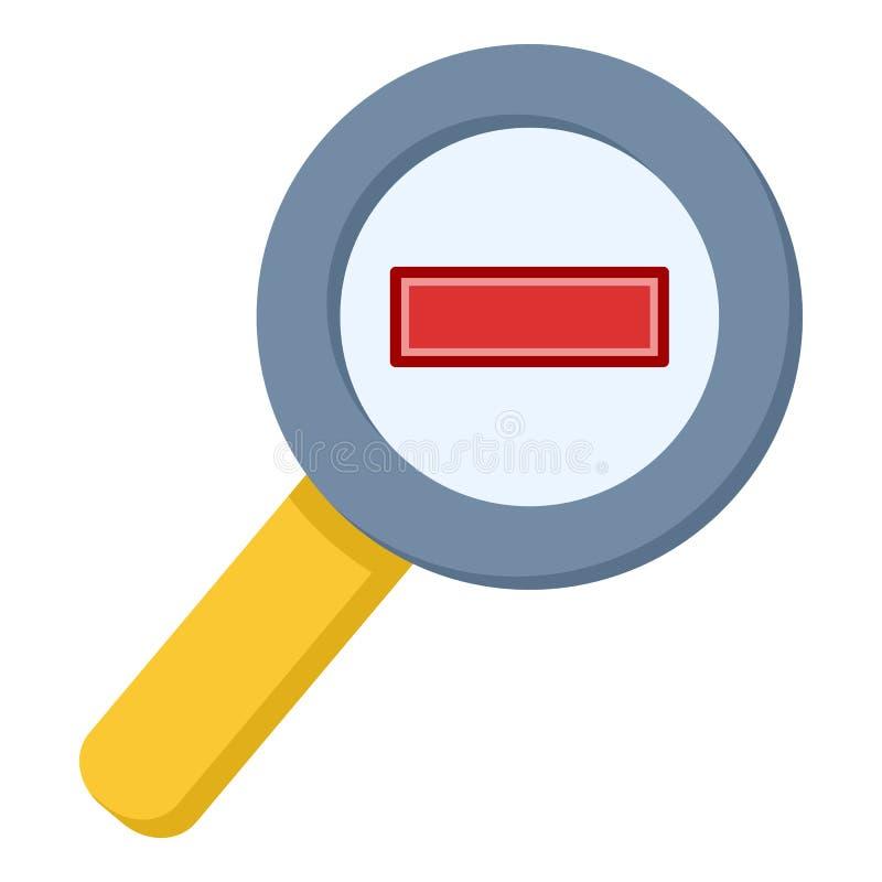 Zoom Out Powiększa - szklana Płaska ikona ilustracja wektor