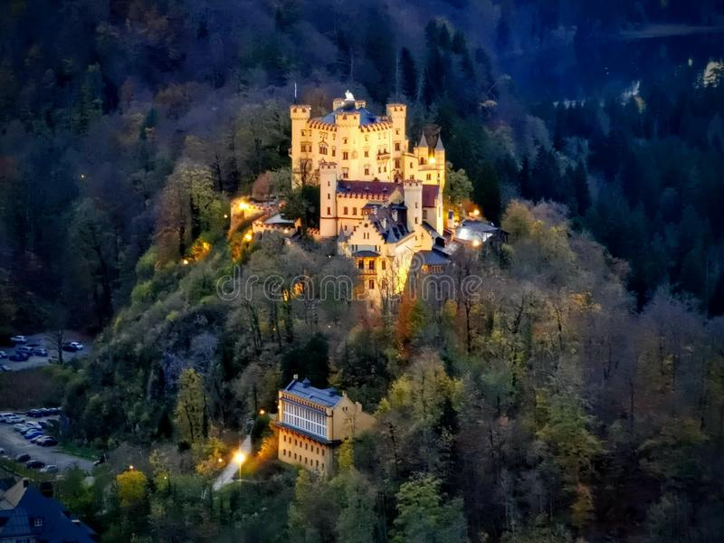 Zoom over Hohenschwangau castle wide royalty free stock images