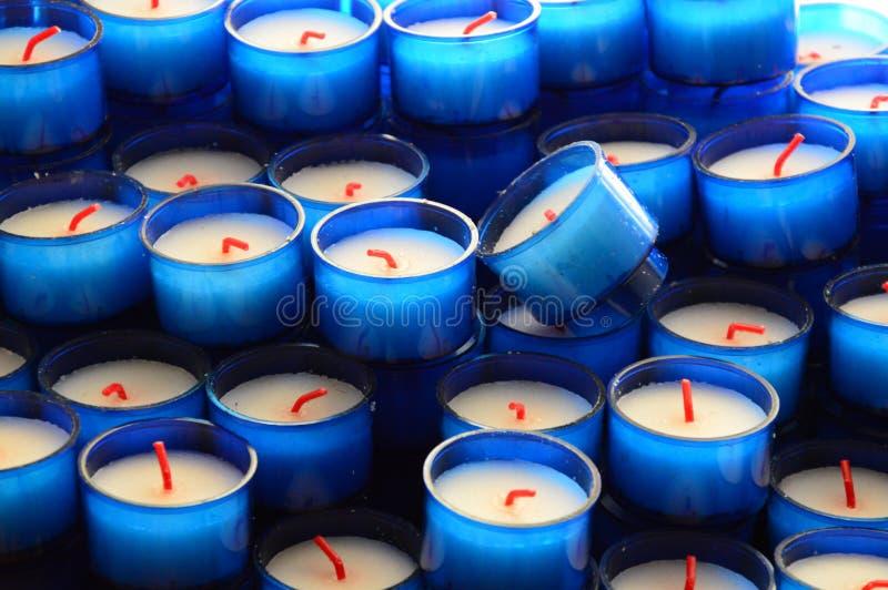 Zoom på blåa Candels royaltyfri fotografi