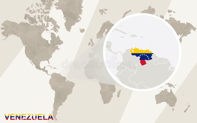 Zoom på den Venezuela översikten och flaggan gammal värld för illustrationöversikt vektor illustrationer