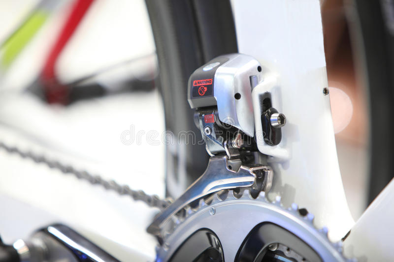 Zoom picture of electric shift front gear of road bike. Zoom image of electric shift front gear of road bike stock image