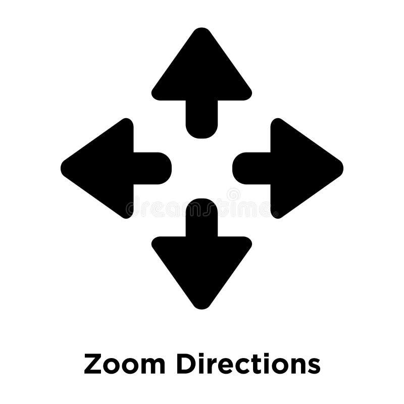 Zoom-Richtungsikonenvektor lokalisiert auf weißem Hintergrund, Logo c stock abbildung