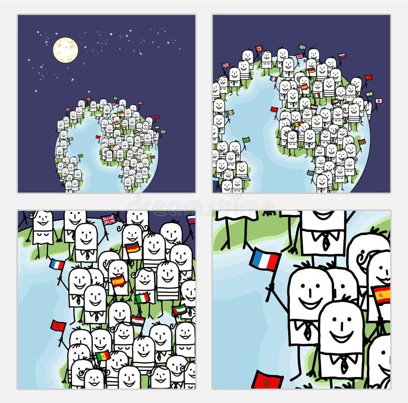Zoom sulla gente del mondo del fumetto con le bandiere illustrazione vettoriale