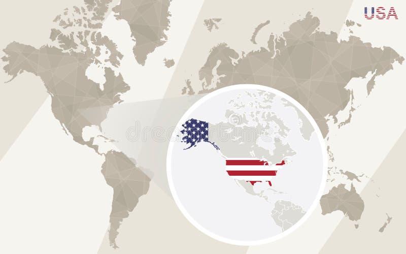 Zoom sulla mappa e sulla bandiera di U.S.A. Programma di mondo illustrazione vettoriale