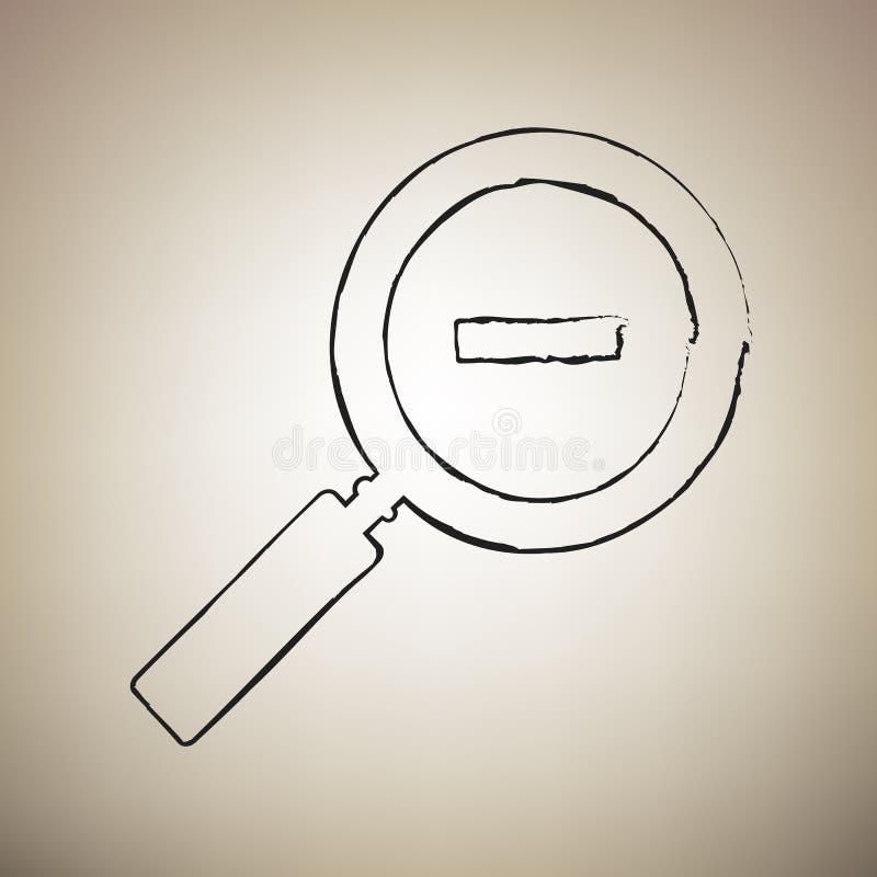 Zoom szyldowa ilustracja wektor Muśnięcie drawed czarna ikona przy światłem ilustracji
