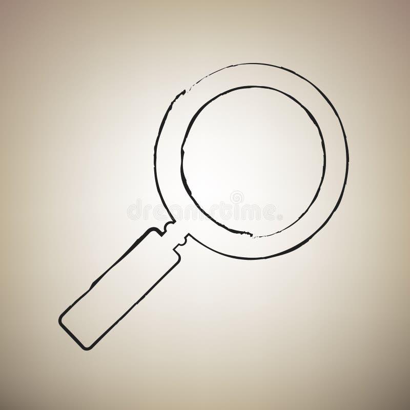Zoom szyldowa ilustracja wektor Muśnięcie drawed czarna ikona przy światłem royalty ilustracja
