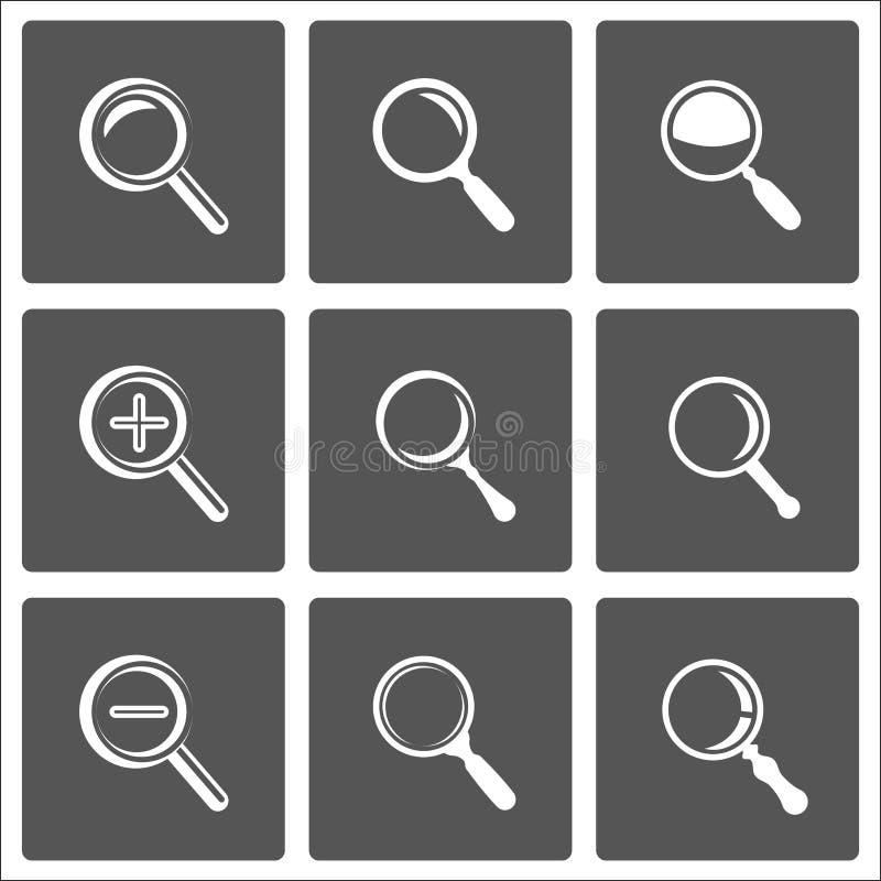 Zoom- und Vergrößerungsglaszeichen stock abbildung