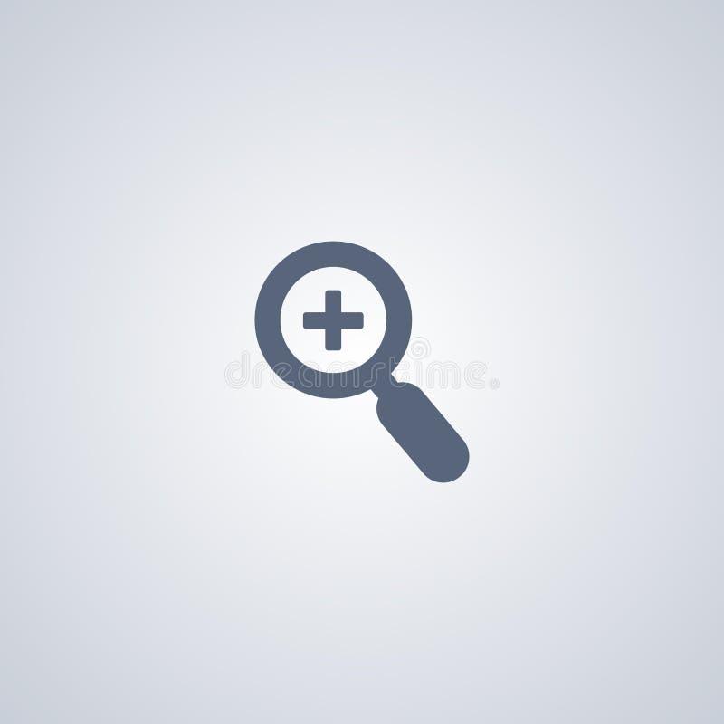 Zoom, vergrößern, vector beste flache Ikone lizenzfreie abbildung