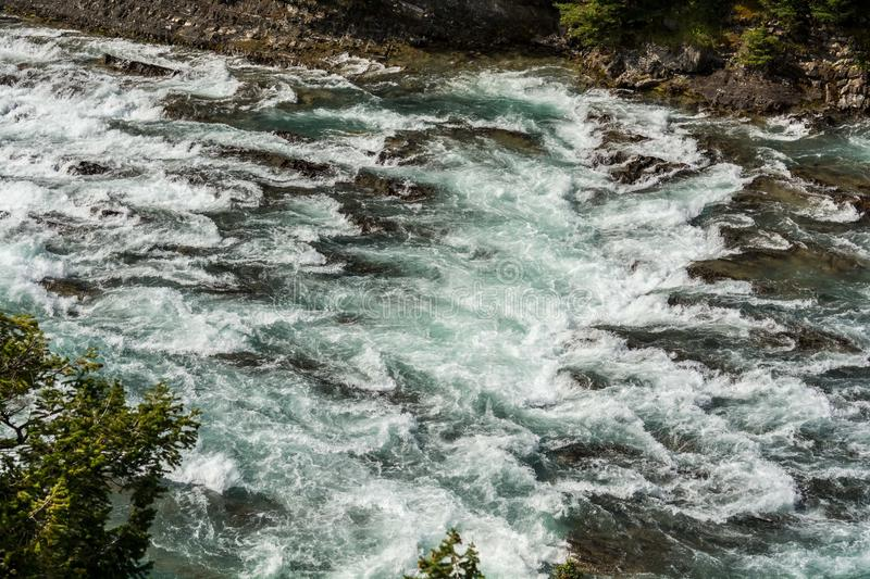 View of Bow Fall and Bow River. Zoom view of Bow Fall Bow River, Banff National Park, Alberta, Canada stock photography