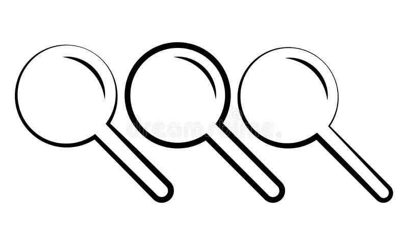 Zoom-Zeichen und Lupe - plus laut summende Zeichen-Ikone vektor abbildung