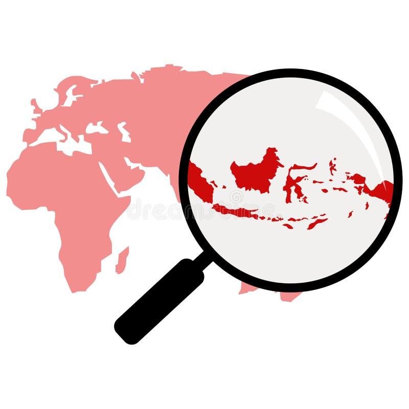 Zooma in av den indonesia översikten indonesia översikt på förstoringsglaset royaltyfri illustrationer