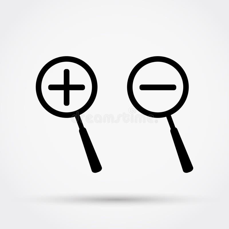 Zooma in och zooma ut symboler royaltyfri illustrationer